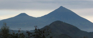 Virunga Mountains Gahinga (left) and Muhabura (right)